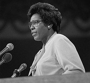 Barbara Jordan - Image: Barbara Jordan speaking at the 1976 Democratic National Convention (cropped 1)