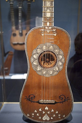 Acoustic guitar - Baroque guitar, c. 1630.