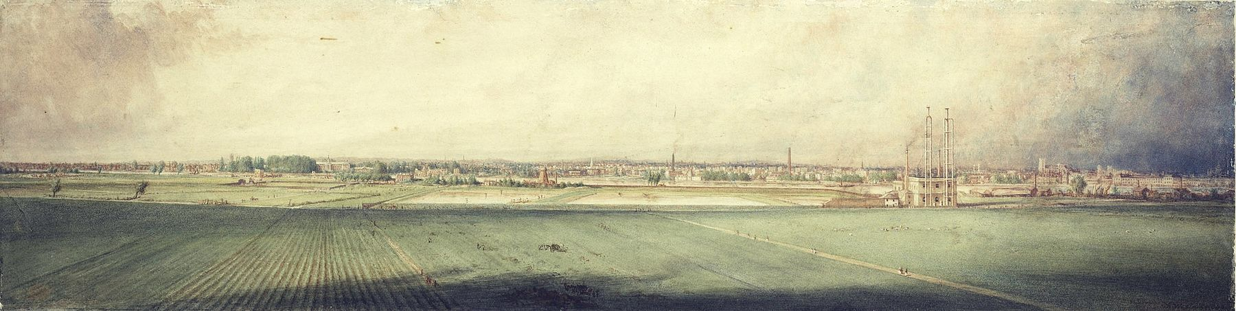 Watercolour painting of a view of Battersea Fields and Chelsea from Lavender Hill in 1848