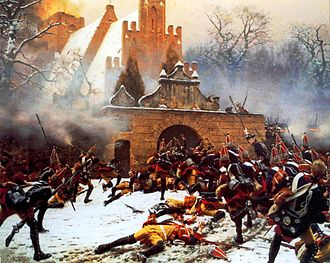 Third Silesian War - Prussian grenadiers storming an Austrian-held church in the Battle of Leuthen, as depicted by Carl Röchling