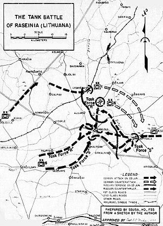 Battle of Raseiniai - Map of the battle