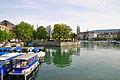 Bauschänzli - Stadthausquai - Limmat - Grossmünster - Limmatquai - Quaibrücke 2012-07-30 09-01-26.JPG