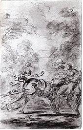 Dessin ébauché au crayon où un homme tente de s'emparer d'un cheval qui rue.