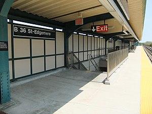 Beach 36th Street (IND Rockaway Line) - Image: Beach 36th Street Stair