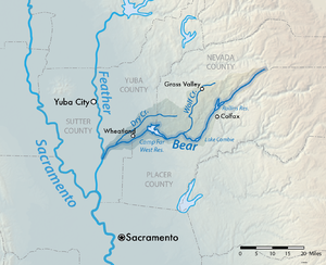 Map Of California Yuba City.Bear River Feather River Tributary Wikipedia