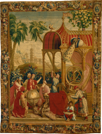 Beauvais Manufactory - Astronomers of the Jesuit China missions with Chinese scholars, Les Astronomes, Beauvais tapestry,1697-1705.
