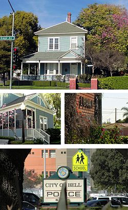 Images, from top and left to right: James George Bell House, Bell Public Library, City of Bell Police sign