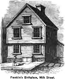 Disegno della casa natale di Franklin in Milk Street, Boston.
