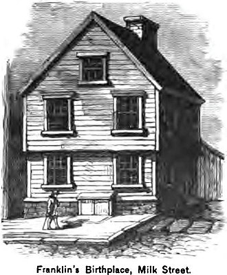 Benjamin Franklin - Franklin's birthplace on Milk Street, Boston, Massachusetts