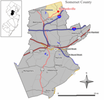 Map of Bernardsville in Somerset County. Inset: Location of Somerset County in New Jersey.