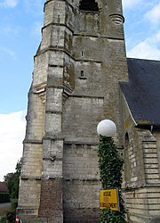 The bell tower of the church in Berneuil