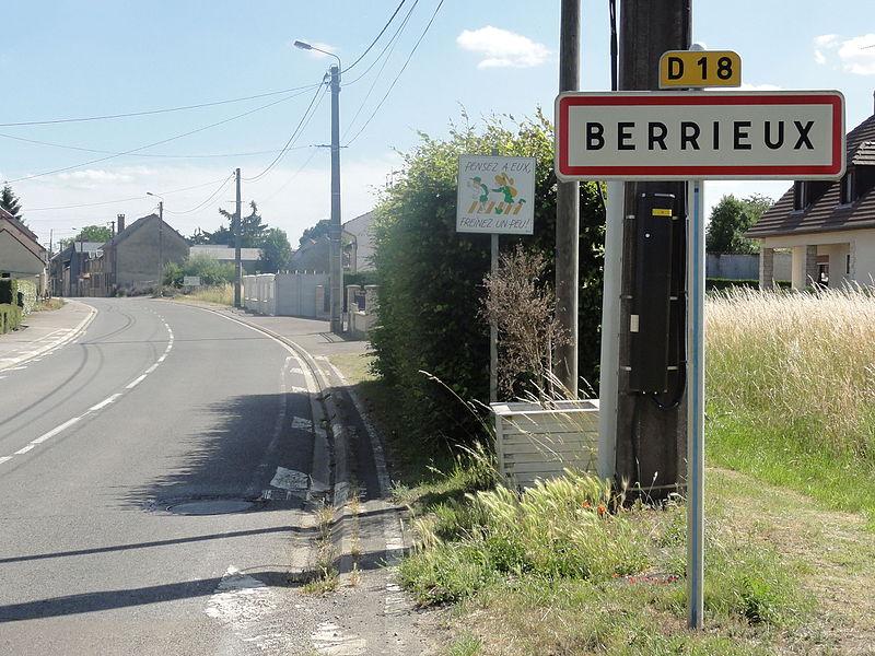 Berrieux (Aisne) city limit sign