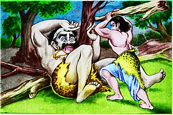Bhima fighting with Bakasura color.jpg