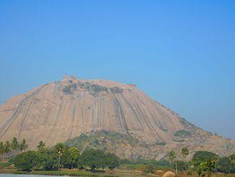 Bhongir - Distant view of Bhuvanagiri fort