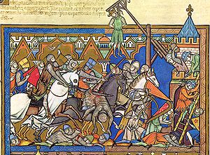 Glaive - Image taken from the Morgan Bible (Folio 10 Verso - top). Notice the Warbrand in the forefront slicing into a mounted soldier.