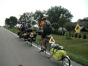 Road cycling - A group of self-supported bicycle tourists crossing Ohio.