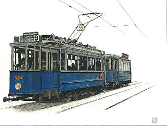 Trams in Amsterdam - A twin axle tram in 1929; this tram type was used until 1968.