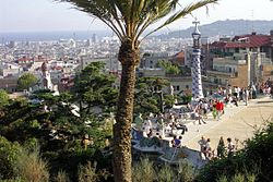 Panorama di Barcellona dal parco Guell