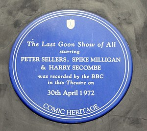 The Goon Show - The blue plaque from the old Camden Theatre, now Koko, the site of the recording of The Last Goon Show of All.