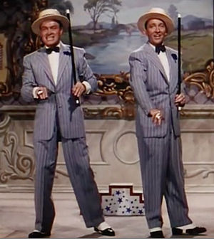 Cropped screenshot of Bob Hope and Bing Crosby...