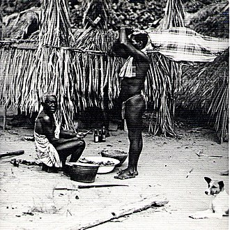 Ndyuka people - Body of Ndyuka Maroon child brought before a medicine man, Suriname River, Suriname, South America, 1955