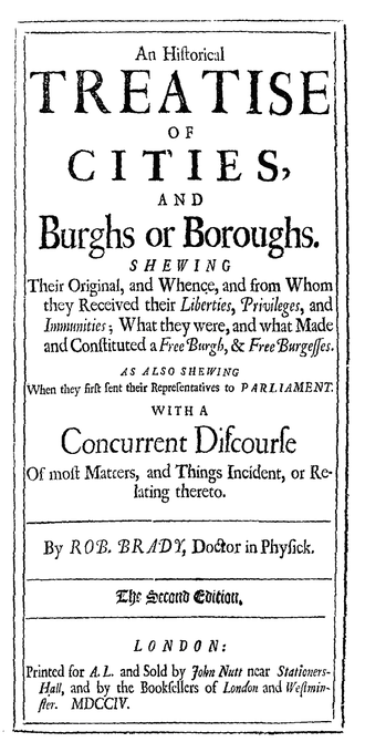 Ancient borough - An early historical analysis of cities and boroughs by Robert Brady (1704)