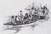 Men in a smaller boat hold two men in a larger boat at gunpoint