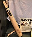 Brett Lawrie bat broken by Mariano Rivera cutter at Baseball Hall of Fame.jpg