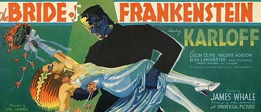 Poster illustration of Frankenstein's monster hoisting his bride