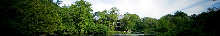 View of lake and trees surrounding the corporate headquarters in Westport, Connecticut