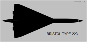 Plan-view silhouette of the Bristol Type 223 SST project Bristol Type 223 top-view silhouette.png