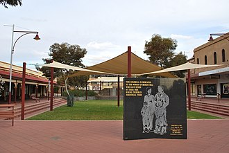 "Women's Brigade (Broken Hill) - The Broken Hill Women's Memorial, dedicated to ""the women of Broken Hill who have stood by their men during troubled industrial times""."