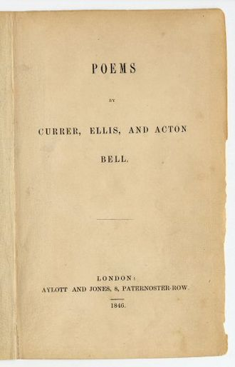 1846 in poetry - Cover of the first edition of Poems by Currer, Ellis, and Acton Bell, by the Brontë sisters