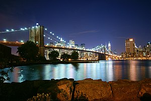 History of Long Island - The Brooklyn Bridge, the first of seven bridges constructed across the East River, connects Long Island with the Borough of Manhattan (in background).