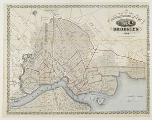 Timeline of town creation in Downstate New York - The city of Brooklyn in 1861