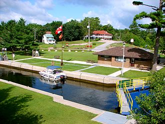 Trent–Severn Waterway - The lock at Buckhorn is typical of the Waterway today, with service buildings for the lock staff and users of the locks.