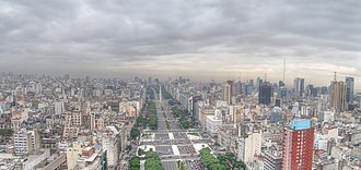 9 de Julio Avenue - Aerial view of Avenida 9 de Julio facing north
