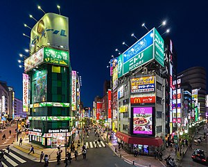 Buildings with colorful neon street signs at blue hour, Shinjuku, Tokyo.jpg