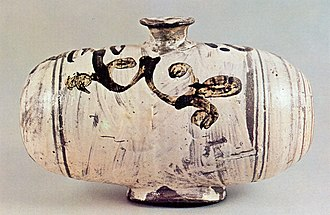 Buncheong - Image: Buncheong Barrel shaped Vessel with Underglaze Iron Arabesque Design