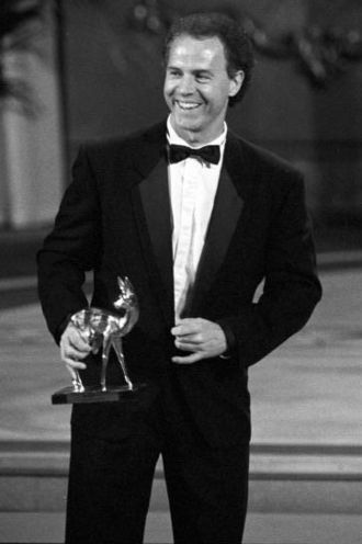 Franz Beckenbauer - Beckenbauer receiving the Sports Bambi Award at the Leipzig Opera, Augustusplatz in 1990