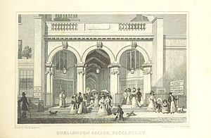 Regency architecture - The original Piccadilly entrance to the Burlington Arcade, 1819