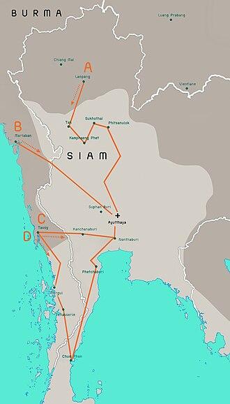 Burmese–Siamese War (1765–67) - Image: Burmese Siamese war (1765 1767) map EN 001