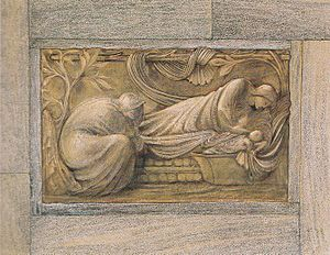 The Nativity (Burne-Jones) - The Nativity, design for a bronze relief, 1879.