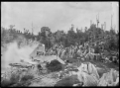 Burning limestone at the lime works in the Waro region, 1918 ATLIB 301355.png