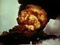 Burning oil tank on Midway 1942.jpg