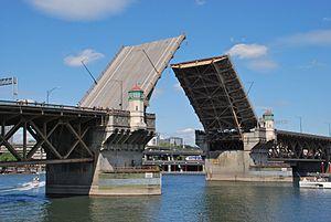 Burnside Bridge - The bridge almost fully opened