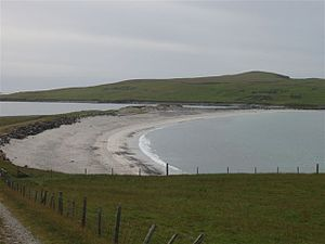 The raffle that connects the Kettla Ness peninsula in the south with the main part of West Burras