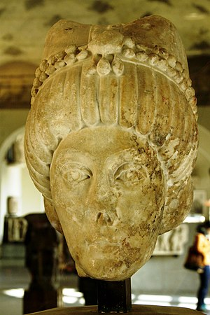Theodora (6th century) - Bust of a Byzantine empress, possibly Theodora. 6th century. Museum of Ancient Art in the Castello Sforzesco in Milan, Italy.