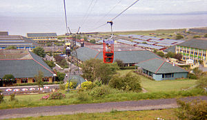 Butlins - The architecture seen in this 1985 photograph of Butlins in Ayr was typical of most camps before refurbishment. Note the rows of chalets in the distance.