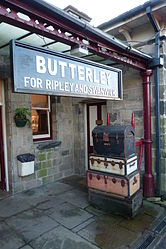 Butterley railway station, Derbyshire, England -entrance-19Jan2014 (2).jpg